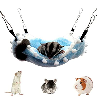 Clicks Double Layer Fleece Pet Hammock Pet Cage Pet Warm Hanging House Bed For Ferret Totoro Hamster Guinea Pig Other Small Animals, Blue 8.3×8.3inch by Clicks