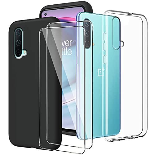 LYZXMY Funda para OnePlus Nord CE 5G Transparente + Negro Carcasa + [2 Piezas] Vidrio Templado Película Protectora - Silicona TPU Suave Caso Case para OnePlus Nord CE 5G (6.43')
