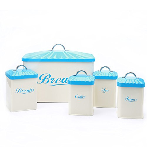 Hot Sale Blue X649 Metal Square Bread Bin/Box/Container Home Kitchen Gifts Biscuit Tea Coffee Sugar Tin Canister Set
