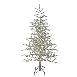 Silver tinsel Christmas tree for Halloween