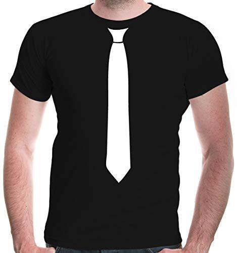 buXsbaum® Herren Unisex Kurzarm T-Shirt bedruckt Krawatte | Festliches Shirt Schlips Aufdruck | L black-white Schwarz