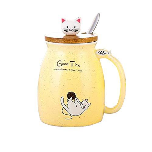Tazza da caffè in ceramica con delizioso gattino in legno cucchiaio in acciaio inox, tazza da tè e latte, regalo di Natale, 380 ml (giallo)