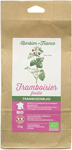 L'herbier de France Framboisier Feuilles, Bio, Sachet Kraft, 25g