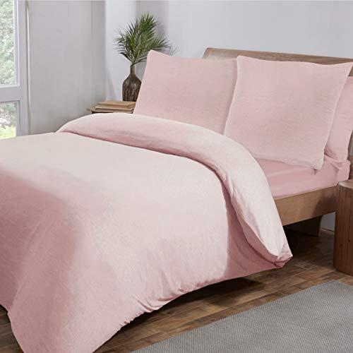 Sleepdown Jersey Melange Pink Warm Cosy Easy Care Plain Yarn Dyed Duvet Cover Quilt Bedding Set - 200cm x 200cm + 2 Pillowcases 80cm x 80cm