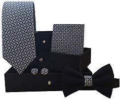 Set da 4 pezzi sartoriali, cravatta + fazzoletto da taschino + papillon + gemelli GIACALLON