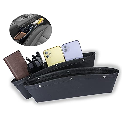 JUSTTOP 2 Pack Car Seat Crevice Storage Box, PU Full Leather Car Seat Crevice Universal Organizer Storage Box to Hold Keys, Coins, Phone, Cards, Pens, etc. (Black)
