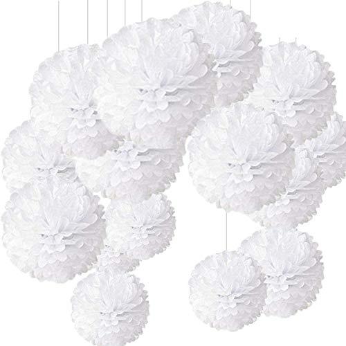 Pompon de Papel de Seda, Blanco Bolas de Papel en Forma de Flor para Fiestas de Cumpleanos, Bodas, Baby Shower, Shower de Novia o Decoracion de Festivales