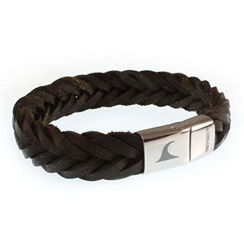 WAVEPIRATE® Echt Leder-Armband Tarifa F15 Dunkel Braun 19 cm Edelstahl-Verschluss in Geschenk-Box Surfer Männer Herren