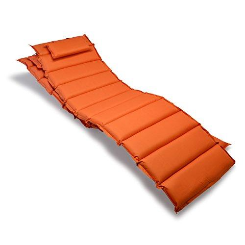 Nexos GL06031_SL2 2-er Set Liegen-Auflage Kopfkissen für Sauna Garten Terrasse aufrollbar orange