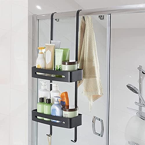 Duschkorb Doppelt, Duschregal schwarz hangend, Duschregal Ohne Bohren Edelstahl Duschablage zum Hängen auf die Duschtür, mit Stabil Saugnapf und Haken für Bad Küche Aufbewahrung black-double layer