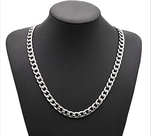 Cathercing Cadena de acero inoxidable para hombre Figaro collar de eslabones cubanos para hombres y mujeres Vintage Punk Hip Hop Joyería (plata)