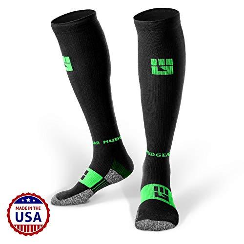 MudGear Premium Compression Socks - Mens & Womens Running Hiking Trail - 1 Pair (Black/Green - S)