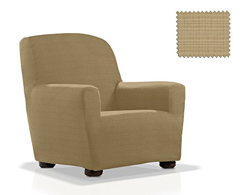 Housse de fauteuil élastique Moraig Taille 1 place (de 70 à 110 cm), Couleur Beige (plusieurs Couleures disponibles.)