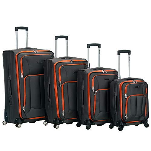 Rockland Impact Softisde Spinner Wheel Luggage Set, Charcoal, 4-Piece (18/22/26/30)