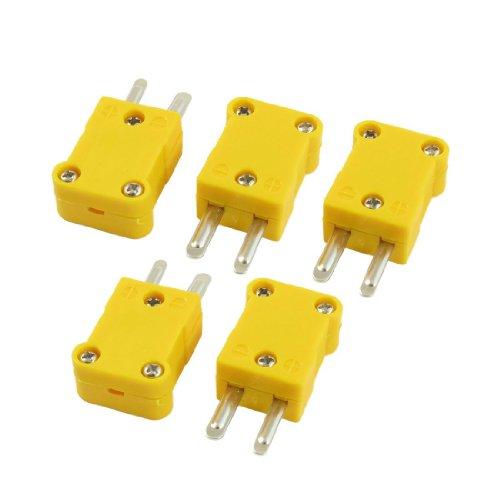 Gaetooely 5pzs Amarillo Conector de cable de termopar de tipo K de 2 pines macho plano caja de plastico