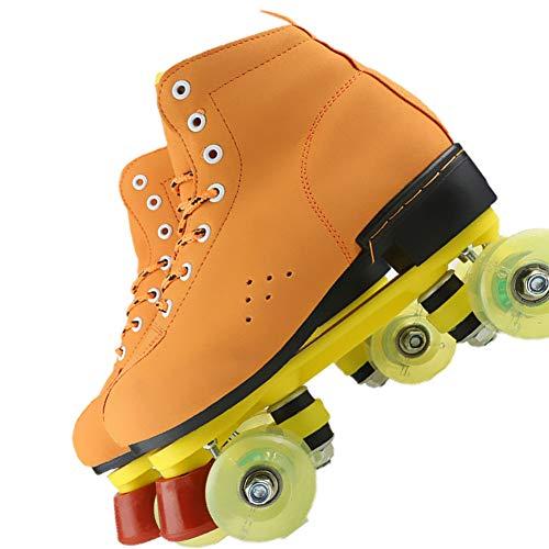 HSART Einstellbarer Größe Skates, Sanft Leder Booten Walze Schlittschuh, Retro Hoch Oben Doppelt Reihe Quad Rollschuhe, Frauen Männer,Green Wheel,41
