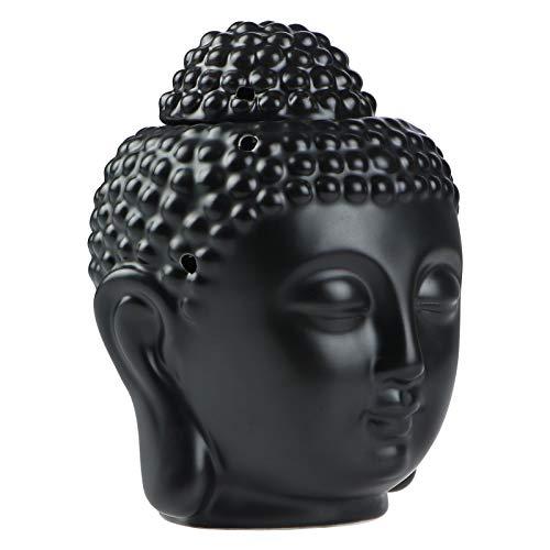 Statua testa di Buddha Diffusori di aromaterapia in ceramica Fornace Bruciatore a candela Bruciatore a cera Bruciatori con cucchiaio Tealight per meditazione Yoga Home Decor (Nero)