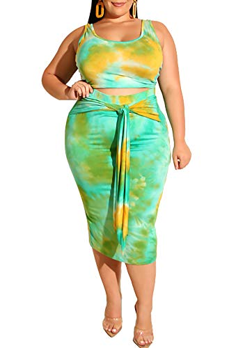 Plus Size Skirt Sets - Sexy Two Piece Outfits Tie Dye Tank Crop Top + Pencil Skirt Lake Blue 4X-Large