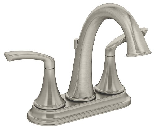 Symmons SLC-5512-STN-1.5 Elm 4 in. Centerset 2-Handle Bathroom Faucet with Drain Assembly in Satin Nickel (1.5 GPM)