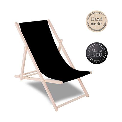 SPRINGOS Liegestuhl Gartenliege aus Holz lackiert klappbar Sonnenliege Relaxsessel Strandstuhl klappbar Buchenholz Entspannung im Freien (Schwarz)