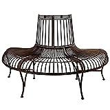 Giardino Panca Albero panchina Stile Antico Ferro Metallo Marrone Parco 134cm