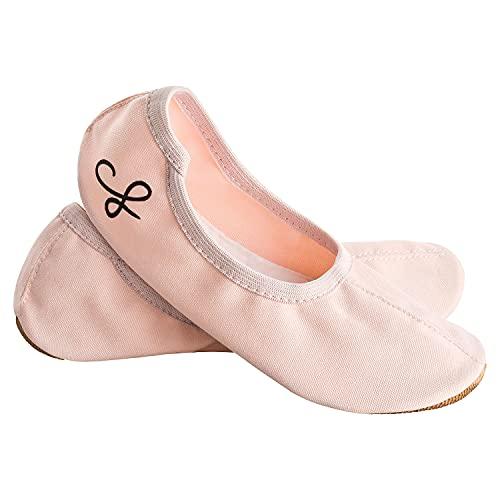 Siegertreppchen® Turnschläppchen Stoff (Größe 36) Rosa   Gymnastikschuhe für Damen & Herren   Ballettschuhe atmungsaktiv & rutschfest