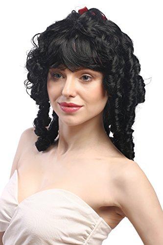 WIG ME UP - 63024-P103 Parrucca Donna Carnevale Biedermeier Romantica Barocco Ricci a Spirale Nero Occhiello Fiocchi Lolita Gotica