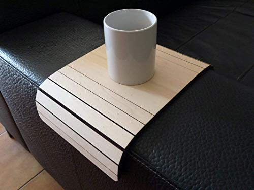 Wooden flexible sofa table for armrest in many colors as poplar Small slinky over the couch side tables Narrow folding dining settee arm tray Armchair trays server drink Slim wrap covers furniture