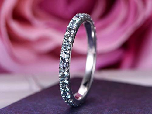 2mm Natural Alexandrite Wedding Band Full Eternity Anniversary Ring 14K White Gold