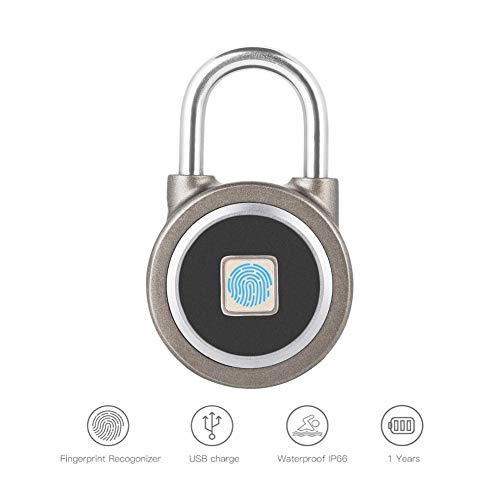 Vingerafdruk Smart sleutelloos compatibiliteit slot, intelligent metaal waterdicht iOS/Android app besturingsbeveiliging diefstalbeveiliging voor huis, rugzak, koffer, fiets