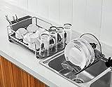Kingrack abtropfgestell, geschirrabtropfgestell aluminium, geschirrablage mit erweiterbarem geschirrkorb für spüle,becherhalter,Besteckhalterkorb,geschirrabtropfer Anti-Rost für küche arbeitsplatte - 3