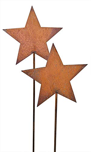 Bornhöft Gartenstecker 2 x 118cm Sterne aus Edelrost Metall Rost Gartendekoration Weihnachten rostige Gartendekoration
