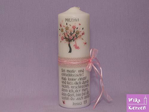 Taufkerze Lebensbaum Vintag Mädchen Taufe Kommunionkerze, Taufkerze Baum mit Mädchen auf schaukel, modern und individuell, ideal als Taufgeschenk, kostenlose Beschriftung 25x8cm Kerze zur Taufe