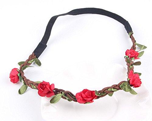 nabati Bohème Plage Rose Fleur Bandeau Mariage Tiara mariée Accessoires de Photo (Red)