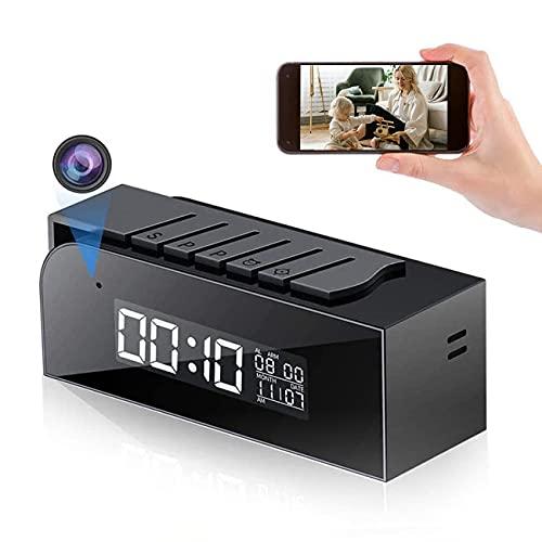 Telecamera Spia WiFi, Mini Telecamera con Orologio Nascosto 1080P HD Telecamera con Rilevamento Automatico 33FT e Supporto per Visione Notturna Telecomando in Tempo Reale per la Sicurezza Domestica