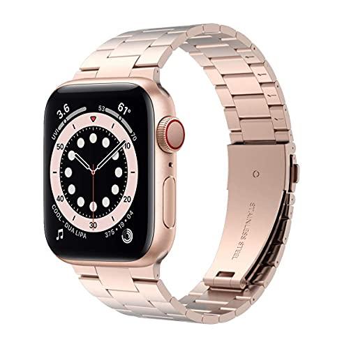 Compatible con la correa de Apple Watch, versión actualizada, correa de acero inoxidable sólido, repuesto para Apple Watch Series 6/5/4/3/2/1/SE (oro rosa, 38 mm/40 mm)