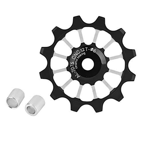 Fahrrad Kettenrad 12T Keramik Aluminium Stützrad Hinten Fit 4/5/6mm Schrauben Unterstützung 7/8/9/10(Schwatz)
