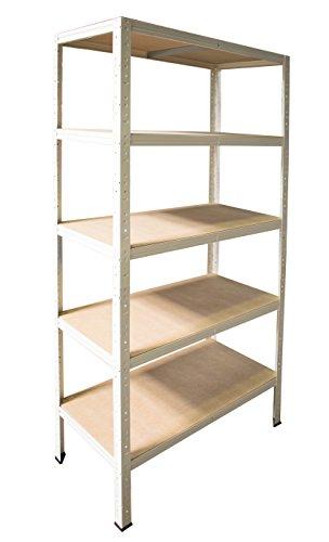 Schwerlastregal in weiß 200 x 120 x 40 cm mit 5 Böden Stecksystem aus Metall verzinkt: Metallregal geeignet als Kellerregal, Lagerregal, Archivregal, Ordnerregal, Werkstattregal