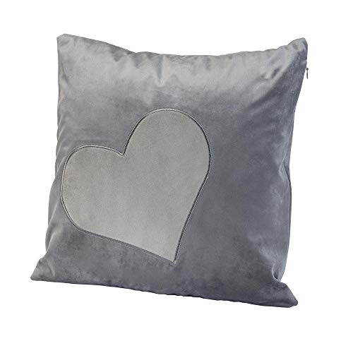 luxdag Kissenbezug 1 Samthülle mit Herz Patch Grau (Farbe & Symbol wählbar) | max 40x40cm Kissen, Stuhlkissen, Zierkissen, mit Reißverschluss