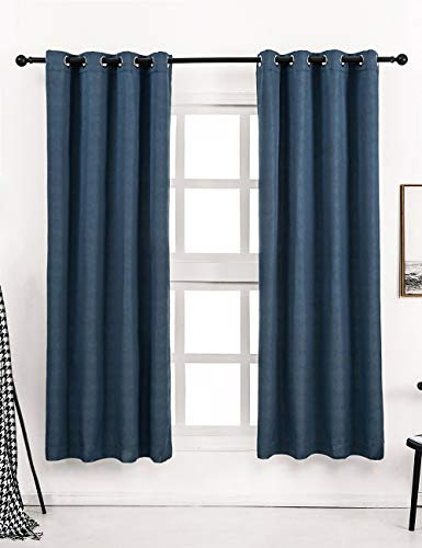 Avigers Luxury Blackout Diamond Grid Pattern Window Curtain Panels, Heat Light Blocking Drapes for Living Room Drop Thermal Insulated Draperies Grommets Top 2 Panels, Navy Blue, 52 x 84 Inches