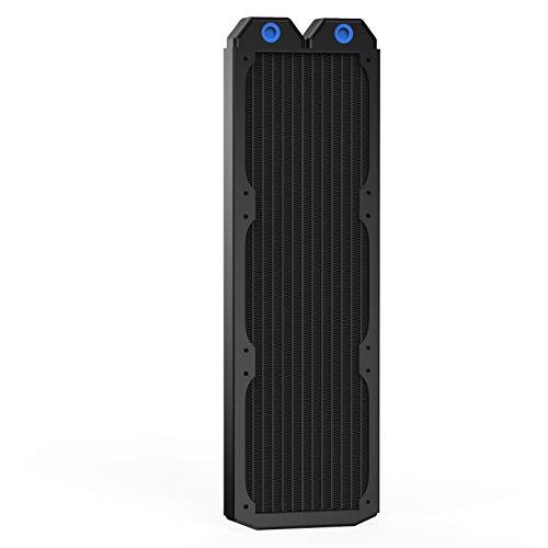 CLDIY Enfriador de refrigeración por agua para ordenador, 12 tubos de cobre, intercambiador de calor G1/4 roscas, 360 mm, para CPU PC, sistema de refrigeración láser de agua DC12 V, color negro