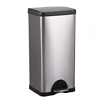 BestOffice 10 Gallon/ 38L Step Stainless-Steel Trash Can Kitchen