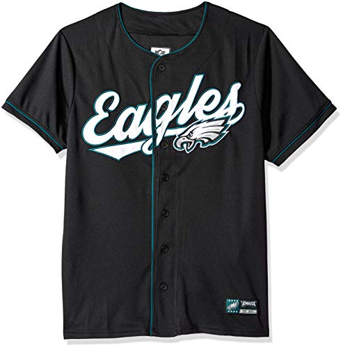 Ultra Game NFL Philadelphia Eagles Mens Mesh Baseball Jersey Tee Shirt, Team Color, Large