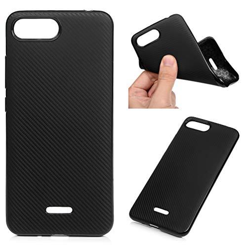 Funda para Xiaomi Redmi 6A, de fibra de carbono, monocolor, suave TPU, carcasa protectora anticaídas y amortiguación, color negro