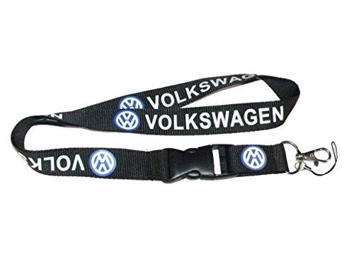 "Volkswagen Black Super Car Accessory Fabric Lanyard Neck Strap Detachable Clip Black Stripe Wide 1"" for Car Key ID Card Mobile Phone Badge Holder"