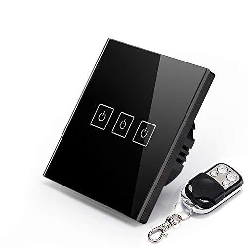 Smart RF Touch - Interruptor de luz táctil, Cristal Negro, 3 Polos de 1 Polo (Control Mediante un par de 433 MHz de Alta frecuencia) con Mando a Distancia