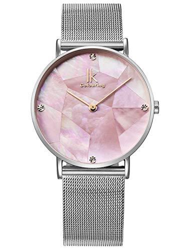 Alienwork Damen-Armbanduhr Quarz Silber mit Metall Mesh Armband Edelstahl pink Perlmutt-Zifferblatt Ultra-flach Slim-Uhr elegant