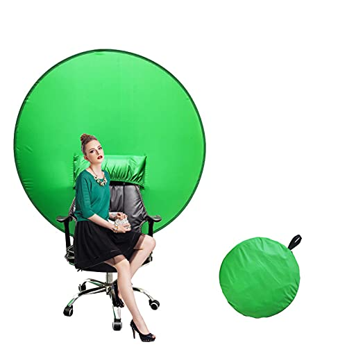 (56''×56'') Webcam Green Screen Background Portable,Green Screen Chair Background Collapsible, Chroma Key Green for Video Chats,Video Backdrop.
