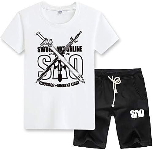 GHMM T-Shirt male été Jeunesse décontractée Set épée Shenniao Anime SAO Tongren Manches Longues Grande Taille Set (Couleur   blanc A, Taille   XL)