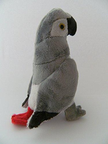 Stofftier Graupapagei 20 cm, Kuscheltier Plüschtier Vogel Papagei
